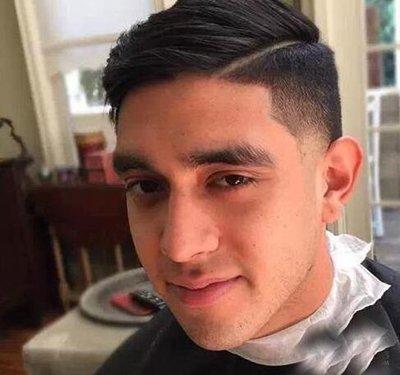 一道杠斜背短发 男生一道杠发型图片