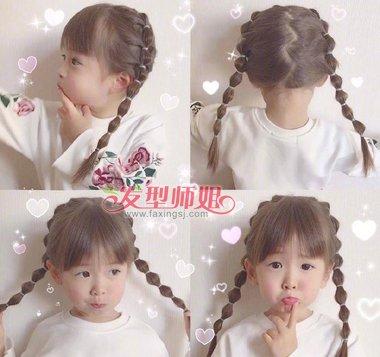 齐刘海萌萝莉扎中分发型教程 敲简单小学女孩中长发扎法