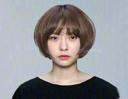 模特三   脸型偏圆脸的模特,剪了一个波波头+齐刘海.图片