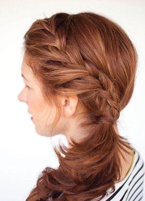 中长发斜刘海发型扎法 斜刘海辫子发型扎法图解